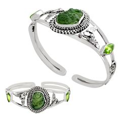 925 silver 16.21cts natural green moldavite adjustable bangle jewelry p82665