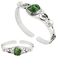 925 silver 15.22cts natural green moldavite adjustable bangle jewelry p82674