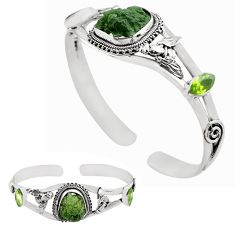 925 silver 16.38cts natural green moldavite adjustable bangle jewelry p82676