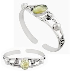 925 silver 12.94cts natural libyan desert glass adjustable bangle jewelry p82657
