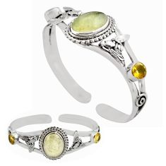 925 silver 15.42cts natural libyan desert glass adjustable bangle p82655