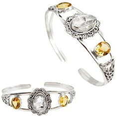 925 silver natural white herkimer diamond citrine adjustable bangle h89226