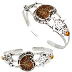 925 silver tortoise charm natural brown ammonite fossil adjustable bangle h89240