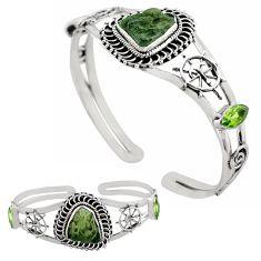925 sterling silver 17.33cts natural green moldavite adjustable bangle p82669