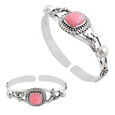 925 sterling silver 14.87cts natural pink opal pearl adjustable bangle p82604