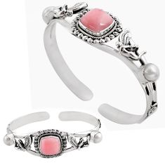 925 sterling silver 13.49cts natural pink opal pearl adjustable bangle p82608