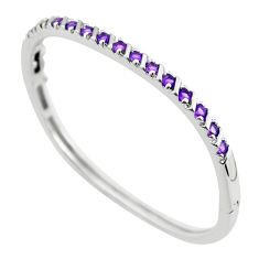 925 sterling silver 4.00cts natural purple amethyst round bangle jewelry c3372