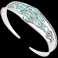 925 STERLING SILVER SUBLIME BLUE TOPAZ MARQUISE CUFF BANGLE JEWELRY H44720