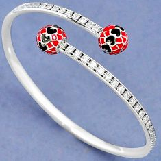 925 STERLING SILVER WHITE TOPAZ RED ENAMEL ADJUSTABLE BANGLE JEWELRY H42762