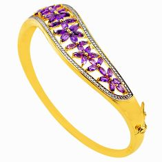 Natural purple amethyst 925 sterling silver 14k gold bangle jewelry a77603