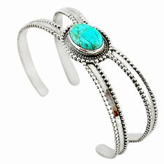Blue arizona mohave turquoise 925 sterling silver adjustable bangle d18074