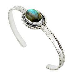 Natural blue labradorite 925 sterling silver adjustable bangle jewelry d18078