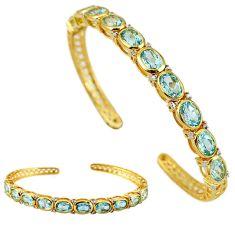 925 sterling silver natural blue topaz 14k gold adjustable bangle d5620