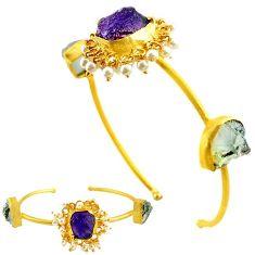 Natural purple amethyst rough 14k gold over brass adjustable bangle f1928