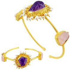 Natural purple amethyst rough 14k gold over brass adjustable bangle f1932