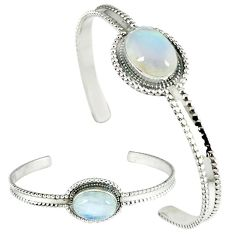 Natural rainbow moonstone 925 sterling silver adjustable bangle jewelry j46381