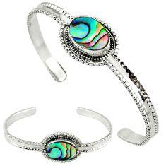 925 silver natural green abalone paua seashell adjustable bangle jewelry j46384