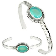 Natural aqua chalcedony oval shape 925 sterling silver adjustable bangle j46395