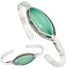 925 sterling silver natural aqua chalcedony marquise adjustable bangle j46396