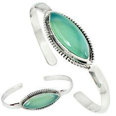 Natural aqua chalcedony 925 sterling silver adjustable bangle jewelry j46397