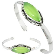 Natural green prehnite 925 sterling silver adjustable bangle jewelry j46399