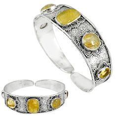 Natural golden tourmaline rutile 925 silver adjustable bangle jewelry k17121