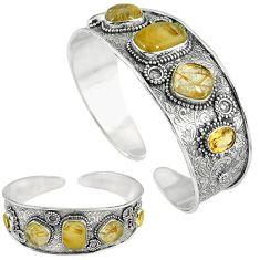Natural golden tourmaline rutile 925 silver adjustable bangle jewelry k17125
