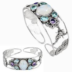 Natural rainbow moonstone purple amethyst 925 silver adjustable bangle k17127