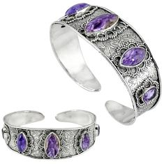 Natural purple charoite (siberian) 925 silver adjustable bangle jewelry k17128