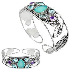 Natural aqua chalcedony amethyst 925 silver adjustable bangle jewelry k17129