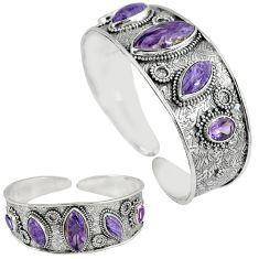 Natural purple charoite (siberian) 925 silver adjustable bangle jewelry k17130
