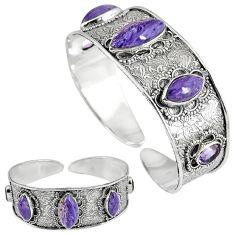 Natural purple charoite (siberian) 925 silver adjustable bangle jewelry k17131