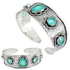 Natural aqua chalcedony 925 sterling silver adjustable bangle jewelry k17133