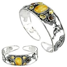 Natural golden tourmaline rutile 925 silver adjustable bangle jewelry k17137