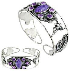 Natural purple charoite (siberian) 925 silver adjustable bangle jewelry k17140