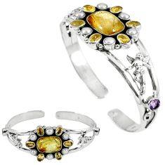 Natural golden tourmaline rutile 925 silver adjustable bangle jewelry k17145