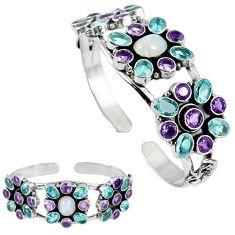 Natural rainbow moonstone amethyst 925 silver adjustable bangle jewelry k17148
