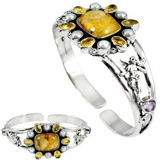 Natural golden tourmaline rutile 925 silver adjustable bangle jewelry k17150