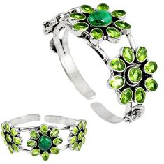 Natural green malachite (pilot's stone) 925 silver adjustable bangle k17151