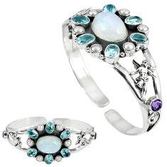 925 silver natural rainbow moonstone amethyst adjustable bangle jewelry k17152