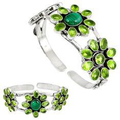 Natural green malachite (pilot's stone) 925 silver adjustable bangle k17154