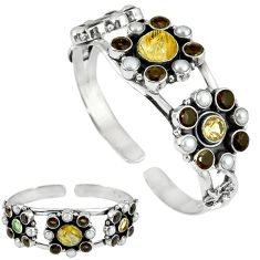 Natural golden tourmaline rutile 925 silver adjustable bangle jewelry k17157
