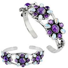 Natural purple charoite (siberian) 925 silver adjustable bangle jewelry k17158