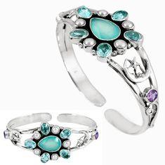 Natural aqua chalcedony amethyst 925 silver adjustable bangle jewelry k17159