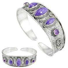Natural purple charoite (siberian) amethyst 925 silver bangle jewelry k17162