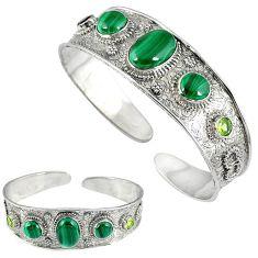 Natural green malachite (pilot's stone) 925 sterling silver bangle k17165