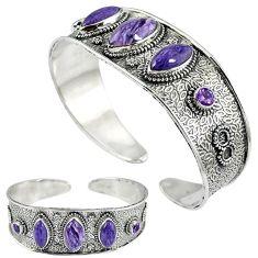 925 sterling silver natural purple charoite (siberian) amethyst bangle k17167