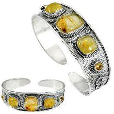 Natural golden tourmaline rutile citrine 925 silver bangle jewelry k17168