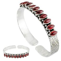 Natural red garnet marquise 925 sterling silver adjustable bangle jewelry k23512