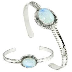 Natural rainbow moonstone oval 925 sterling silver adjustable bangle k28284
